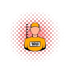 Prisoner in hat with number icon comics style vector image