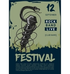 Rock music poster with snake and microphone vector