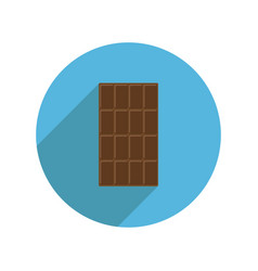round milk chocolate bar icon long shadow tasty vector image