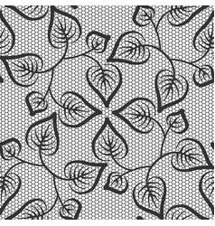 seamless black leaves lace pattern on white vector image