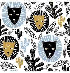 seamless childish pattern lion faces and tropical vector image