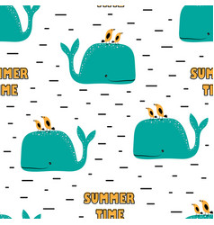 Seamless pattern with whales and birds vector