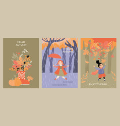 set cards with happy children having fun vector image
