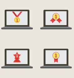 Set Of Champion Badge In Laptop Screen Illu vector