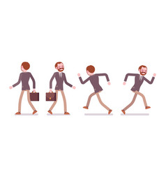 set of male teacher walking and running rear vector image