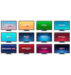 Set of mass media sports weather financial vector