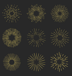 set of sunburst elements on white background for vector image