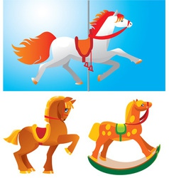 Set of toy horses vector