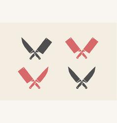 Set restaurant knives icons vector