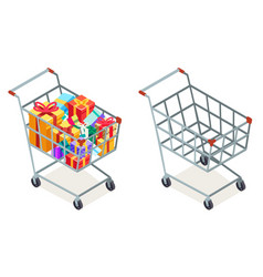 Shopping cart purchase goods gift isolated object vector