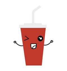 Soda cup kawaii character vector