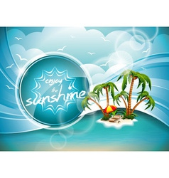 Summer Holiday Design with Paradise Island on blue vector