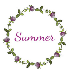 summer lettering in red clover botanical wreath vector image