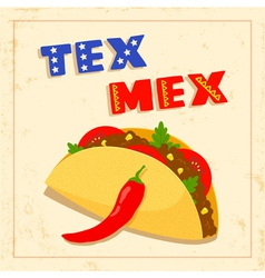 tex mex taco on white background vector image