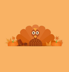thanksgiving turkey with pumpkins vector image