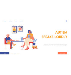 Therapy session with autism disorder child landing vector