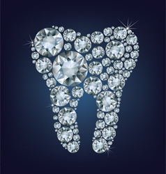 Tooth made up a lot of diamonds vector