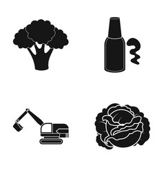 Tree cabbage and other web icon in black style vector