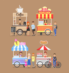 Trolleys with street fast food and vendors set vector