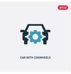Two color car with cogwheels icon from vector