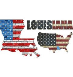 USA state of Louisiana on a brick wall vector image