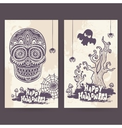 vintage Halloween set of banners vector image
