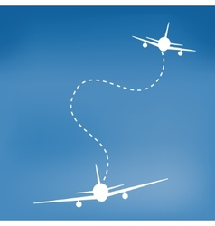 White cartoon airplanes in blue sky vector