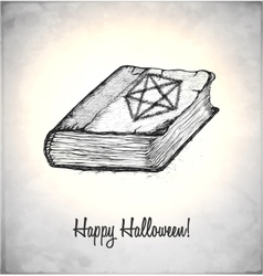 Witches book with spells in a sketch style vector
