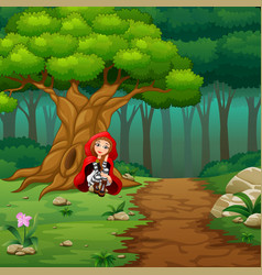 women red hooded squat at the forest vector image
