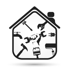 Wrench in hand and house tool vector