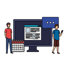 Young men with desktop and calendar characters vector