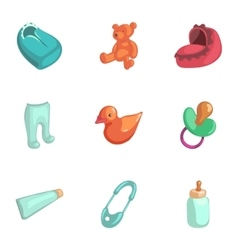 Baby accessories icons set cartoon style vector image