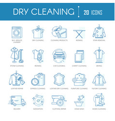 dry cleaning laundry service line icons set vector image