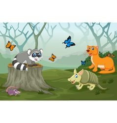 Funny animal with deep forest landscape background vector