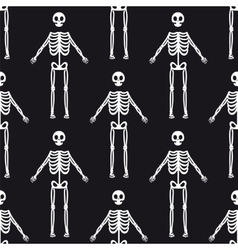 Seamless pattern with white skeletons vector image