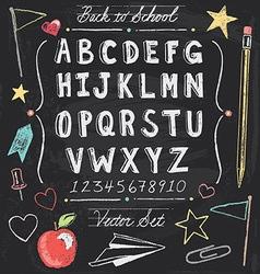 Vintage Back To School Chalkboard Hand Drawn Set vector image vector image