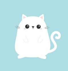white cute sitting cat baby kitten cartoon kitty vector image vector image