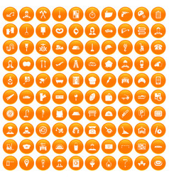 100 working professions icons set orange vector image vector image