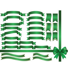 a set of assorted green ribbons vector image
