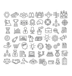 business icons set in line style vector image vector image