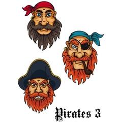 Cartoon fierce pirates set vector image vector image