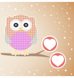 cute owl branch vector image vector image