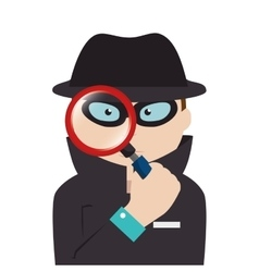 detective agent with magnifying glass vector image