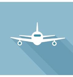 Flat long shadow air plane vector image vector image