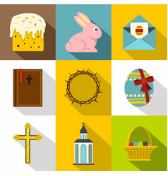 happy easter icon set flat style vector image vector image