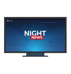 Mass media night news banner live tv show vector