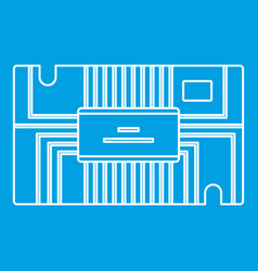 Microchip icon outline vector