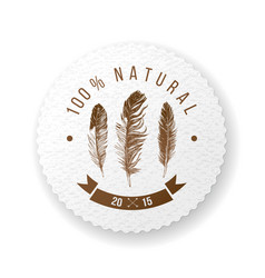 round paper emblem with feathers and type design vector image