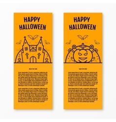 Happy halloween concept orange vertical banners vector image