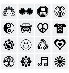 Hippie icon set vector